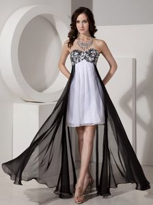 Black and White High-low Pageant Dress with Appliques and Beading