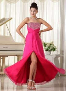 Strapless Beading Hot Pink High Slit Dresses For Pageants In Nj