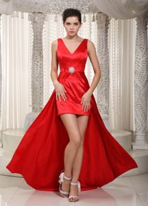 Red Column V-neck High-low Natural Beauty Pageants Dress