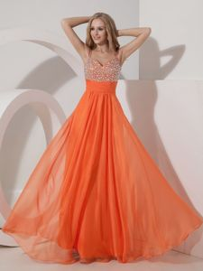 Orange Empire Straps Prom Pageant Dress Beading Floor-length