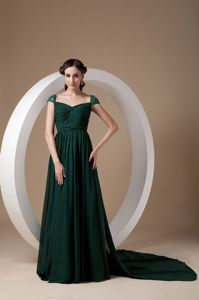 Empire Square Watteau Train Dark Green Beauty Pageant Dresses