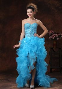 High-low Light Blue Girl Pageant Dress with Beading and Ruffles