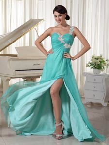 Turquoise Appliques One Shoulder Prom Pageant Dress with High Slit