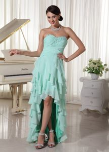 Layered High Low Pageant Dress Sweetheart Beading in Mint Green