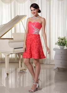 Rolling Flowers Watermelon Red Pageant Dress Sweetheart with Appliques