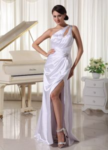 One Shoulder High Slit White Prom Pageant Dress with Beading