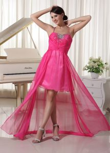 Beading Halter Top High-low Beauty Pageant Dresses in Hot Pink