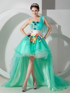 One Shoulder High-low Green Pageant Dress with Sash and Appliques