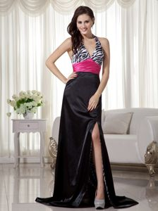 Black Sheath Halter Brush Train Zebra Miss Universe Pageant Dress