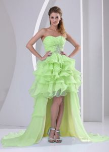 Yellow Green High-low Sweetheart Pageant Dress with Beading