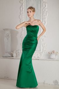 Green Mermaid Strapless Ruched Prom Pageant Dress Floor-length