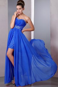 High-low Royal Blue Sweetheart Beading Pageant Dresses in Cergy