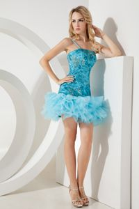 Mini-length Aqua Blue Tulle Straps Beauty Pageant Dresses Sequined