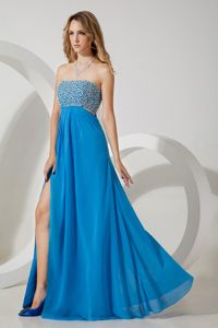 Sky Blue Chiffon Pageant Dress For Miss USA Sequined with High Slit