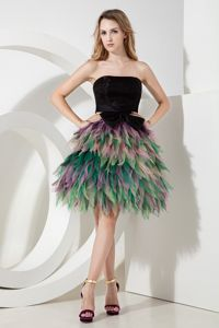 Mini-length Multi-color Ruffled Organza Pageant Dress with Bowknots
