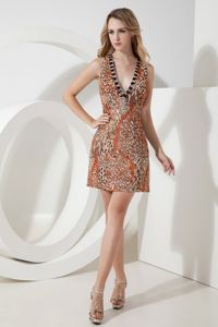 Leopard Short V-neck Sheath Beaded Glitz Pageant Dress in Berkswell