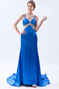 Beads Royal Blue Satin Pageant Dresses with Straps and Brush Train
