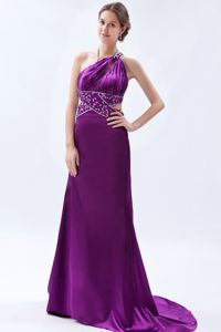 One Shoulder Eggplant Purple Beaded Satin Pageant Dresses in Horsham