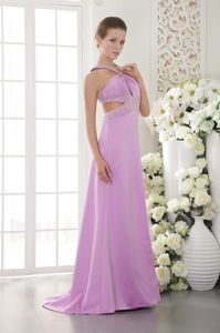Satin Lavender Halter Beaded Miss Universe Pageant Dress in Gatwick