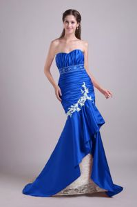 Mermaid Sweetheart Lace Beaded Beauty Pageant Dresses in Royal Blue