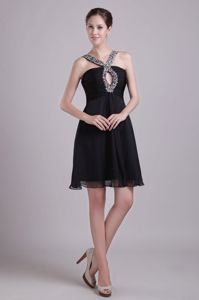 Empire Black V-neck Chiffon Short Beading Pageant Dress in Faygate