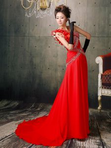 Hot Beaded Red One Shoulder Floral Pageant Dresses with Brush Train