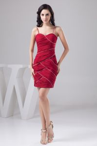 Beaded Spaghetti Straps Dark Red Mini-length Interview Pageant Suits
