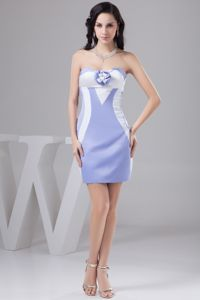 Lilac and White Short Handmade Flower Miss Universe Pageant Dresses