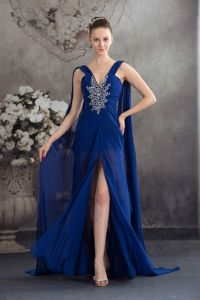 Watteau Train Royal Blue Pageant Dresses For Miss World with Beading