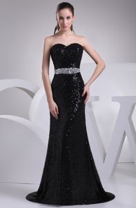 Brush Train Black Sequined Pageant Dresses with Rhinestones on Sale