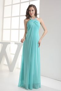 Aqua Blue Halter Empire Beading Interview Pageant Suits in Sedbergh