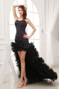 High-low Beaded Black Sweetheart Ruffles Miss Universe Pageant Dress