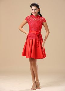 Lace and Taffeta High-neck Red Glitz Pageant Dresses Sashed for 2014