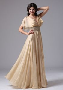 Champagne Beaded V-neck Glitz Pageant Dresses with Butterfly Sleeves