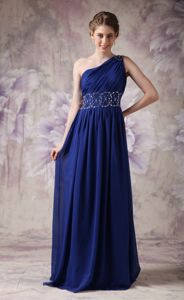 Navy Blue One Shoulder Chiffon Beaded Pageant Dresses for Miss USA