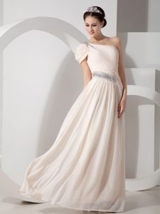 Empire Champagne One Shoulder Beading Chiffon Beauty Pageant Dresses