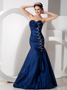 Mermaid Navy Blue Taffeta Beaded Miss Universe Pageant Dress on Sale