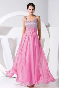 Ankle-length Straps Beaded Rose Pink Pageant Dress in Port Sunlight