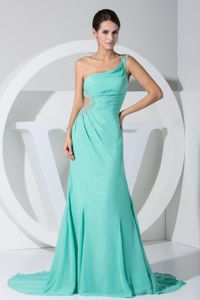 One Shoulder Beaded Turquoise Chiffon Beauty Pageant Dresses on Sale
