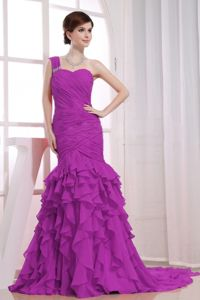 Watteau Train One Shoulder Mermaid Lavender Pageant Dresses Ruffled