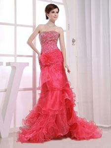 Mermaid Ruffled Layers Beading Red Pageant Dresses for Miss USA 2013