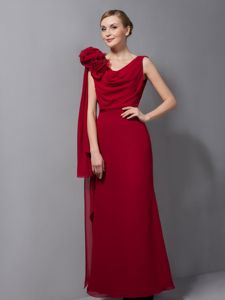 Chiffon Wine Red V-neck Flowers Prom Pageant Dress in Lake District