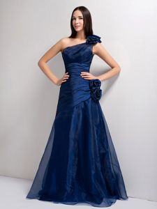 Navy Blue One Shoulder Interview Pageant Suits with Hand Made Flower