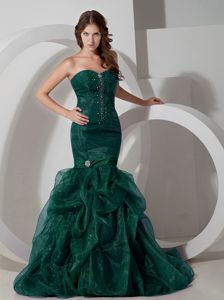Mermaid Court Train Dark Green Beads Pageant Dresses for Girls in US