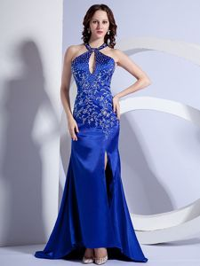 Mermaid Halter Embroidery Miss Universe Pageant Dress in Royal Blue