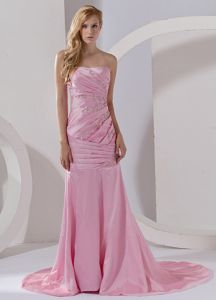 Mermaid Pageant Dresses for Miss USA in Pink Court Train with Beading