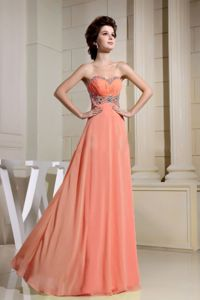 Napa Beaded Waist and Sweetheart for Orange Red Pageant Dresses