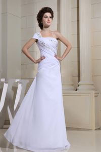 White Mermaid Beaded Pageant Dress with One Cap Sleeve in Halifax