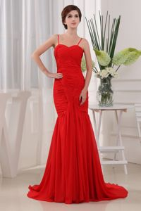 Red Ruched Pageant Dresses for Miss USA with Spaghetti Straps