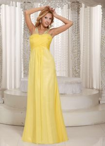 Light Yellow Beaded Decorated Straps Miss Universe Pageant Dresses